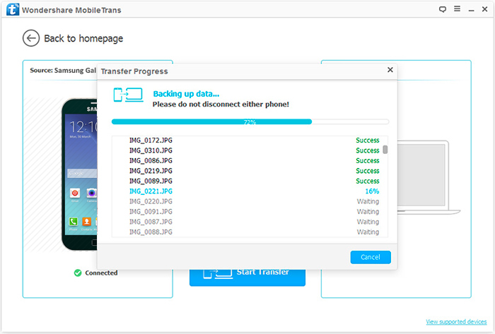 transfer data from Android to pc