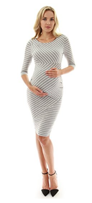 PattyBoutik Striped Elbow Sleeve Maternity Dress.png