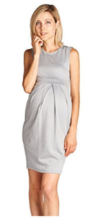 Knee Length Front Pleated Sleeveless Midi Maternity Dress.png