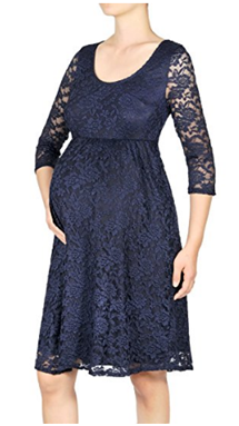 Maternity 3/4 Sleeve Knee Length Lace Dress.png
